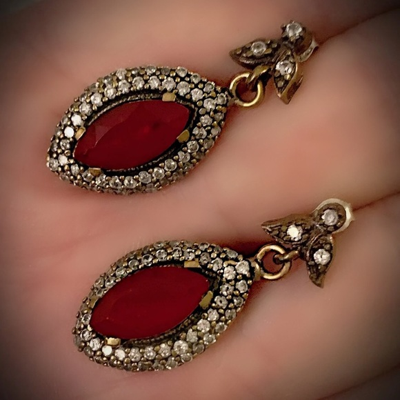 Vintage Jewelry - Valentine Love Red Ruby Cluster Silver Earrings